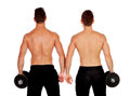Couple of handsome muscled men back training Royalty Free Stock Photo