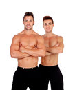 Couple of handsome muscled men isolated on a white background Royalty Free Stock Images