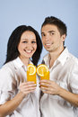 Couple happiness drink orange fresh Royalty Free Stock Image
