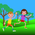 Couple of happy boy and girl running through the park