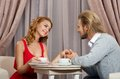 Couple have talking in restaraunt Stock Image