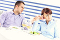 Couple having argument in a restaurant picture of young an Royalty Free Stock Images