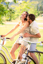 Couple Having A Bicycles Ride ...