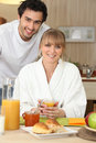 A couple having breakfast Stock Photos