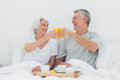 Couple having breakfast in bed mature Royalty Free Stock Photography