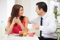 Couple Having Breakfast Before Work Royalty Free Stock Photo