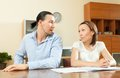 Couple having conflict about family budget husband and wife a financial problems documents Royalty Free Stock Photos
