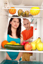 Couple with healthy food Royalty Free Stock Photos