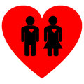 Couple on a heart an abstract image of Royalty Free Stock Photography