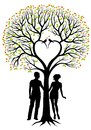 Couple with heart tree, vector background Royalty Free Stock Photos