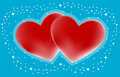 Couple hearts with small stars on blue vector illustration Stock Images