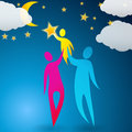 Couple helping their child reach the stars Royalty Free Stock Photo