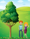 A couple at the hilltop standing near the tree illustration of Stock Image