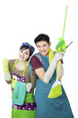Couple hold cleaning tool on white background Royalty Free Stock Photos