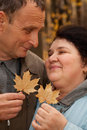 Couple hold leaves and look against each other Stock Image