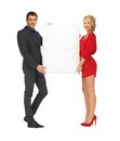 Couple holding big blank board bright picture of Stock Photo