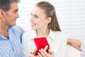 Couple holding box ring in hand Royalty Free Stock Photo