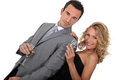 Couple holding champagne glasses Stock Photography