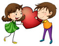 Couple holding a heart illustration of on white background Stock Photography