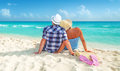 Couple on holidays at the caribbean sea Royalty Free Stock Images
