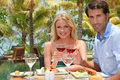 Couple on holidays in luxury resort Stock Photos