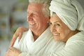 Couple   at home in a bathrobes Royalty Free Stock Photo