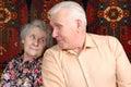 Couple home old seventy smiling year Στοκ εικόνα με δικαίωμα ελεύθερης χρήσης