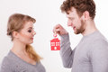 Couple with house keys. Royalty Free Stock Photo