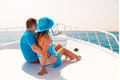 Couple in hug relaxing on the cruise luxury yacht Royalty Free Stock Photo