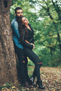 Couple hugging in the park young Royalty Free Stock Images