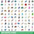 100 couple icons set, isometric 3d style