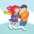 Couple illustration of a skating romantic Stock Photography