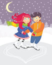 Couple illustration of a skating romantic Stock Images