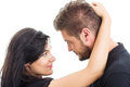 Couple inlove looking at each other in love on white background Royalty Free Stock Photos