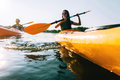 Couple kayaking. Royalty Free Stock Photo