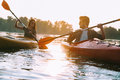 Couple kayaking together. Royalty Free Stock Photo