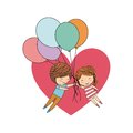 Couple of kids cartoon heart and balloons icon. Vector graphic