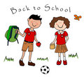 Couple of kids going back to school Stock Images