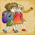 Couple of kids going to school cute cheerful in colorful clothes and schoolbag Royalty Free Stock Images