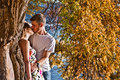 Couple kissing in autumn Royalty Free Stock Images