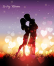 A couple kissing at sunset vector illustration of with hearts Royalty Free Stock Photos