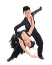 Couple latin dancers modern young asian teens dancing in front of the studio background full length isolated white Stock Photos