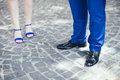 Couple legs and shoes elegant Stock Photos
