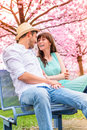 Couple lifestyle flirting outdoor meeting eachother Royalty Free Stock Images