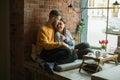 Couple listening to music on headphones Royalty Free Stock Photo