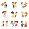 Couple of little kids dancing set, modern and classical dance performed by children vector Illustrations on a white