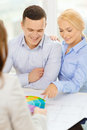 Couple looking at blueprint and color samples home designe architecture concept smiling office Royalty Free Stock Photo