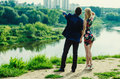 Couple looking into the distance Royalty Free Stock Photo