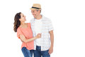 Couple looking at each other on white background Royalty Free Stock Photos