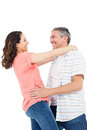 Couple looking at each other on white background Stock Photography